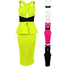 Ladies Wrap Crossover Leatherette PVC Detail Bodycon Women's Peplum Party Dress