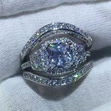 Gemstone CZ Crystal White Gold Filled Engagement Women Ring Set Size 6-10 Ring