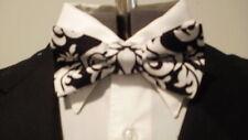 Damask Bowtie Men's Black And White Bow Tie Wedding Bridal Groom Groomsmen