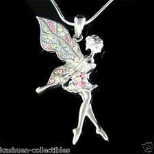 Rainbow w Swarovski Crystal Fairy ~TINKERBELL Angel Wings Pendant Chain Necklace