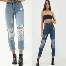 New Womens Ladies Denim Extreme Ripped stretchy Boyfriend Mom Jeans Size 8 - 16