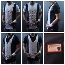 Men Long T-Shirt Vest Tank Top Casual Tee Fashion Stylish Extended T Black White