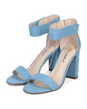 New Women Breckelles Aniston12 Faux Suede Open Toe Ankle Strap Block Heel Sandal