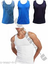 MENS 100% COTTON INTERLOCK VESTS. WHITE, LIGHT BLUE, ROYAL & NAVY S,M,L,XL,XXL