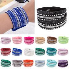 Multilayer Bracelet Wrap Cuff Punk Crystal Leather Bangle Rhinestone Wristband