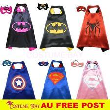 Kids PJ Superhero Cape & Mask Set Boy Girl Superman Spiderman Halloween Costume