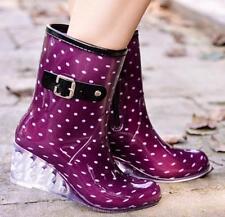 Womens Wedge High Heels Non-slip Lolita Rain Boots Waterproof Shoes Galoshes NEW