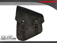 LaRosa Harley Softail Rigid Saddlebag - Rustic Black Leather Sharp Flap Left Bag