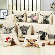 Home Art Highland Cow Cattle Linen Pillow Case Cushion Cover Sofa Car Decor New