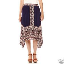 a.n.a Woven Asymmetrical Skirt Petites Size PM, PXL New Black Border Print