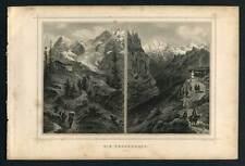 STATION DE WENGERNALP CANTON DE BERNE Gravure de 1850