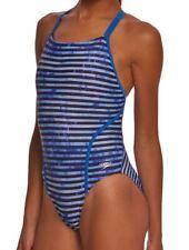SPEEDO Racing Stripe Volt Back Blue Black Swim Suit 6 32  34 10 36 12 38 14 40