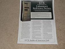 Luxman Labratory Series Ad, 1980, 5t50 Tuner,5m21 Amp, 5c50 Preamp, 1 pg, Articl