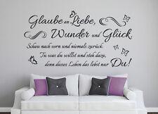Glaube an Liebe, Wunder & Glück Schlafzimmer Wandaufkleber Wandspruch WandTattoo