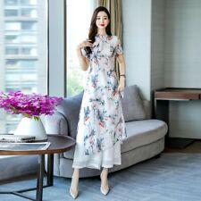 Chinese Women Floral Print Cheongsam Long Slim Fit Dress Wide-leg Pants 2Pcs Set