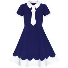 Robe Fille Arrière École Marine Bleu Blanc Collier Attacher Court Manche