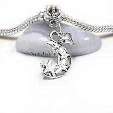 Cute Silver Tone 3D Love You to The Moon Star Heart Dangle Charm fits Bracelets