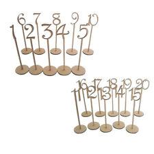 20pcs/set Wooden Table Numbers Holder Base Wedding Party 1-20 Desktop Decorating