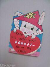 Vtg Valentine Card Easter Bonnet Bunny Rabbit 50's 60's UNUSED