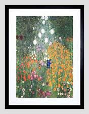 KLIMT FLOWER GARDEN 1907 OLD MASTER BLACK FRAMED ART PRINT B12X182