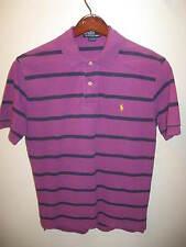 Ralph Lauren Polo Retro 1990's Raspberry Purple Blue Stripe Cotton Polo Shirt Sm