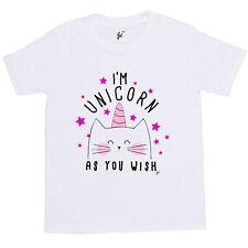 I'm Unicorn As You Wish Happy Cat With Unicorn Horn Kids Girls T-Shirt