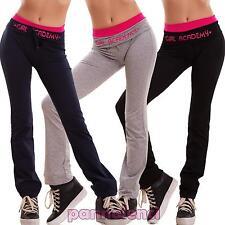 Pantaloni donna tuta sport palestra fitness cotone scritte elastico nuovi D9923