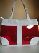 New! Red & White Vinyl Tote Handbag Christmas Santa Spa Bag GIFT
