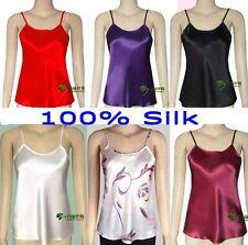 100% Pure Silk Spaghetti Strap Camisole Tank Top Vest Sleepwear M-2XL