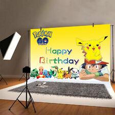 Pokemon & Pikachu Kids Vinyl Photography Backdrop Birthday Party Boy Photo Decor