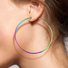 PAIR of Round Hoop Earrings 22g Rainbow Multi-color Ion Plated Stainless Steel