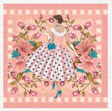 Mode, Années 50 Style Rose-recouvert de tissu Craft Quilting Panel