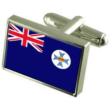 Queensland Flag Cufflinks Tie Clip Lapel Badge Engraved Gift Set WFC352