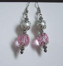 Rosa Elegante Cristal Facetado pendientes largos: opción de Clip o Perforado