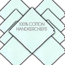 "100% PURE COTTON HANDKERCHIEFS SATIN BORDER WHITE 11"" 29½CM LADIES HANKIE HANKY"