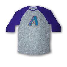 Arizona Diamond Backs Men's Majestic Gray/Purple 3/4's Sleeve T-shirt NWOT