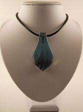 """Handmade SILVER FOIL Vetro Blu PAVONE Ciondolo Foglia & 18 """"Black Leather Cord."""