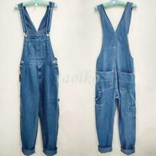 Hot Men's Loose Pants Overalls Washed Denim Suspender Trousers Work Summer Jeans
