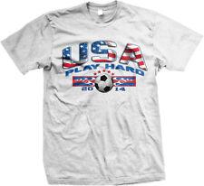 USA Play Hard World Cup 2014 Soccer American Flag America Pride Mens T-Shirt