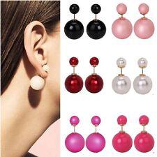 1 paia doppio perle orecchini a perno molti colori arte Perla Perle 6+15mmø