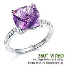 14K White Gold Engagement / Anniversary Ring Purple Cushion Amethyst Diamond