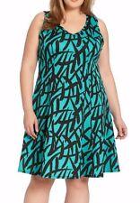 Karen Kane 1L53524W Baja Green/Black Plus Size Stretch Scuba A-line Dress - $136