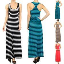 Band Tied Racerback Maxi Dress Sleeveless Tank Stripe Full Length Long A63382-11