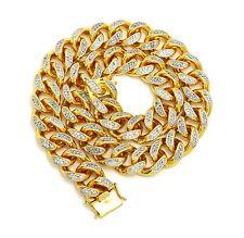"Hip Hop 18mm 20"" Cubic Zircon Brass Box Lock Miami Cuban Chain Necklace N3196-20"