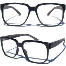 Wood Print Design On Sides Clear Lens Eye Glasses Retro Hipster Nerd Black Front
