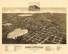 POSTER PANORAMIC VIEW LAKE CITY FLORIDA 1885 USA MAP VINTAGE REPRO FREE S/H
