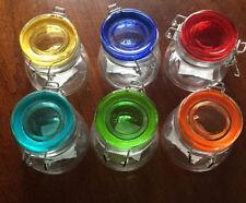 SMALL 6oz TAPERED Glass Stash Jar Spice Storage Clamp Flip Lid Airtight Seal