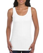 WHITE LADIES SOFTSTYLE TANK TOP, Gildan 100% Ringspun Cotton PLAIN Womens Female