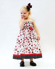 Toddler Girls Summer Sun Dress Hand Smocked Red Black White Floral Summer 17585