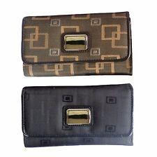 Ladies girls wallet jacquard flap clutch purse NEW classic black or dark brown